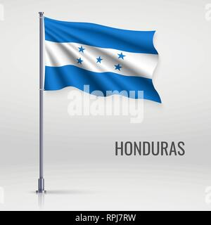 Waving flag of Honduras on flagpole. Template for independence day poster design - Stock Photo