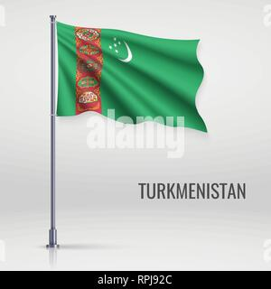 Waving flag of Turkmenistan on flagpole. Template for independence day poster design - Stock Photo