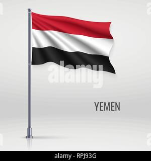 Waving flag of Yemen on flagpole. Template for independence day poster design - Stock Photo