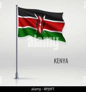 Waving flag of Kenya on flagpole. Template for independence day poster design - Stock Photo