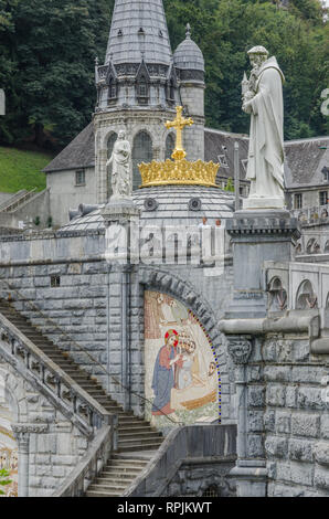 FRANCE LOURDES SEP 2018 view of basilica in Lourdes town. The town is a place where st Mary appeared before a peasant girl - Stock Photo