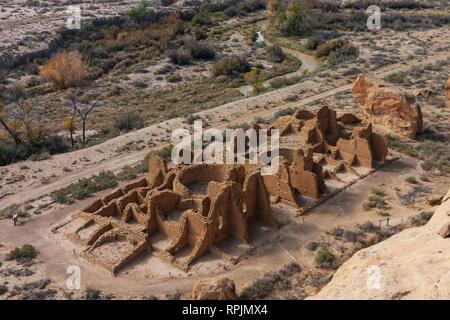 An areal view of Pueblo Bonito at Chaco Canyon, New Mexico - Stock Photo