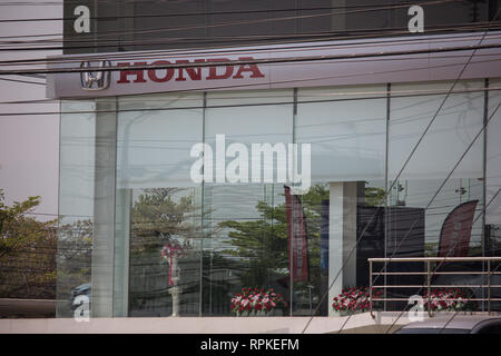 Chiangmai, Thailand - February 21 2019: Honda official dealership and showroom of Honda Paradise Chiangmai. Location on road no.121 about 8 km from do - Stock Photo