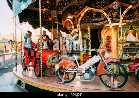 Helsinki, Finland - December 11, 2016: Christmas Holiday Carousel In Senate Square In Winter Day - Stock Photo