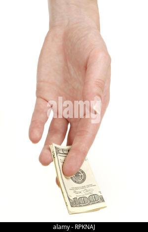 Female hand holding one hundred dollar banknote on white background, isolated - Stock Photo