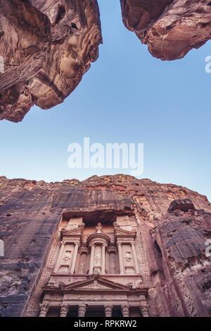 Al Khazneh temple - The Treasury in Petra archaeological city in Jordan - Stock Photo