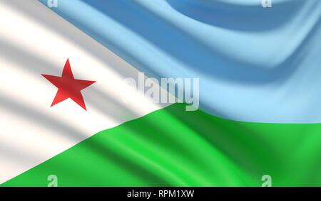 Flag of Djibouti. Waved highly detailed fabric texture. 3D illustration. - Stock Photo