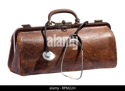 Old vintage leather doctors bag with stethoscope dangling over the side over white in a healthcare and medical concept - Stock Photo