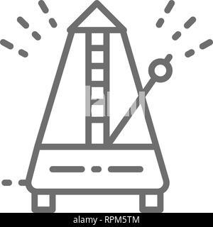 Metronome, rhythm line icon. Isolated on white background - Stock Photo