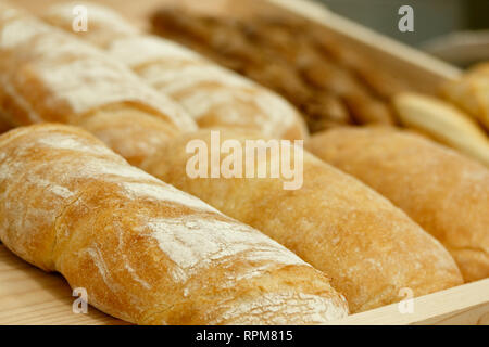 Freshly baked bread loaves at a bakery shop. Selective focus. - Stock Photo