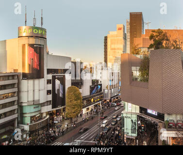 Bird's view of the Japanese youth culture fashion's district crossing intersection of Harajuku Laforet named champs-élysées in Tokyo, Japan. - Stock Photo