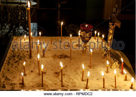 Interiour of orthodox church in Moscow,Russia - Stock Photo