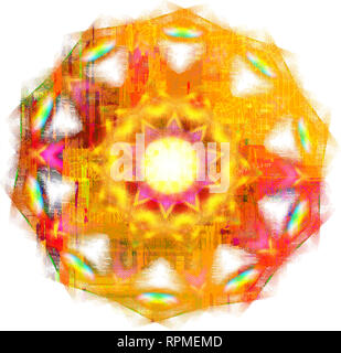 A Colourful Mandala pattern on a white background - Stock Photo