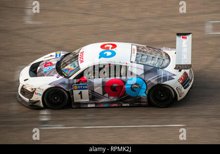 Professional racing driver Marchy Lee in the 2013 Audi R8 LMS Cup at the Shanghai Circuit. Lee was the champion of the 2012 series. - Stock Photo