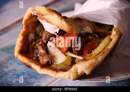Gyro pita on a plate - Stock Photo