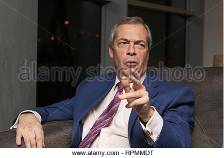 UKIP leader Nigel Farage interviewed during the EU referendum campaign. - Stock Photo