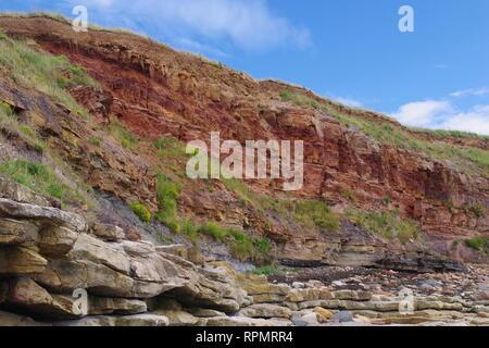 Carboniferous Sandstone Geology Exposed along the Fife Coast near Crail. Field Geology. Scotland, UK. - Stock Photo
