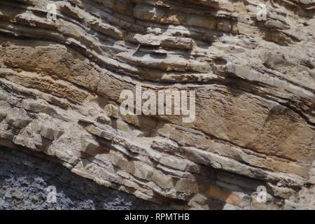 Wavy Bedding of Carboniferous Sandstone Geology Exposed along the Fife Coast near Crail. Field Geology. Scotland, UK. - Stock Photo