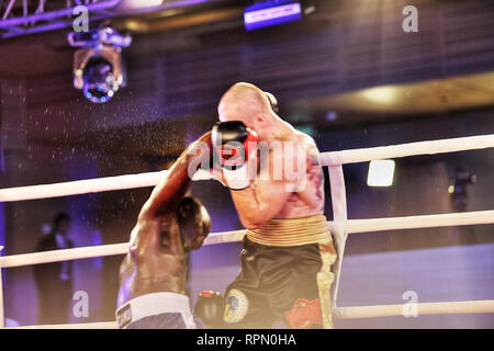 African boxer Farouk Daku goe down Kiev ring of solid right counter punch by Ukraine Kharkov based pro-champ, strong super midleweight Igor Kurdritsky - Stock Photo