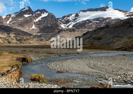 Shackleton Valley at Stromness Harbour, South Georgia - Stock Photo