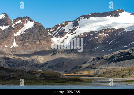 Valley at Stromness Harbour, South Georgia - Stock Photo