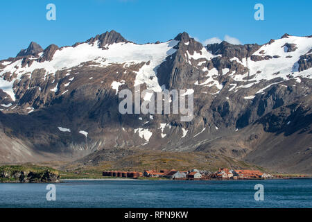 Leith Whaling Station, Stromness Bay, South Georgia - Stock Photo