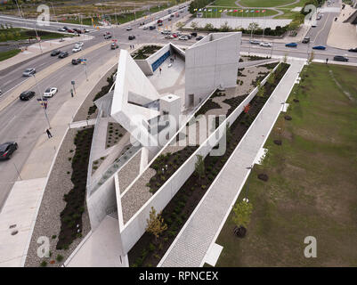 Star-like memorial grounds from the air. National Holocaust Monument, Ottawa, Canada. Architect: Libeskind, 2017. - Stock Photo