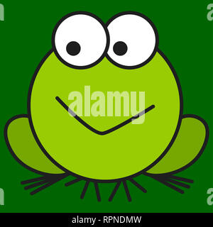 Frog in cartoon style. On color background,  illustration - Stock Photo