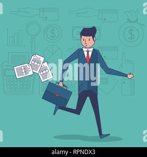 Businessman and money symbols - Stock Photo