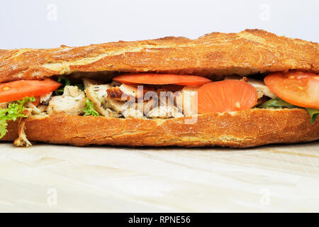 Fresh chicken sandwich. French baguette. Food and drink. Editorial illustrative.  France
