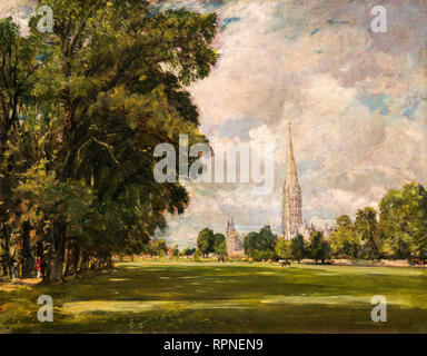 John Constable, Salisbury Cathedral from Lower Marsh Close, 1820, landscape painting - Stock Photo