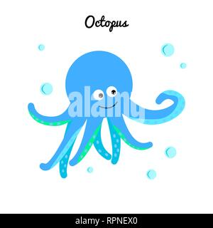 Cute blue octopus with bubbles water. Flat vector icon mollusk with tentacles. Cartoon marine character isolated on white background. Ocean illustrati - Stock Photo