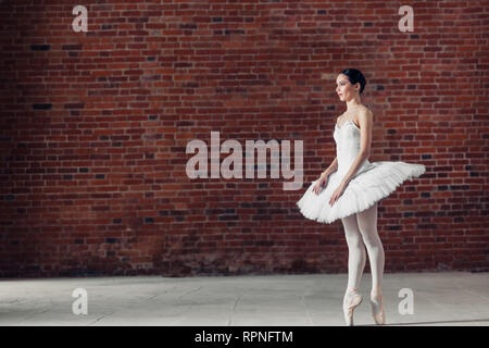 beautiful young woman wearing white tutu is going to show her performance, full length photo. copy space - Stock Photo