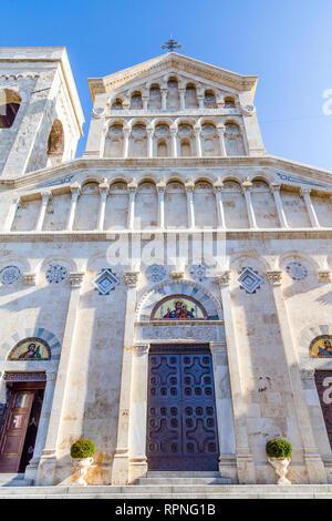 Neo Gothic facade of Cagliari Cathedral of Saint Mary in Sardinia Iisland, Italy - Stock Photo
