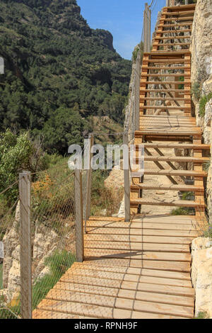 Caminito del Rey (The King's Little Path) is a walkway, pinned along the steep walls in the  Desfiladero de los Gaitanes (Gaitanes Ravine) - Stock Photo