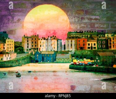 DIGITAL ART: Bricks & Mortar (The Harbour at Tenby, Wales, Great Britain) - Stock Photo