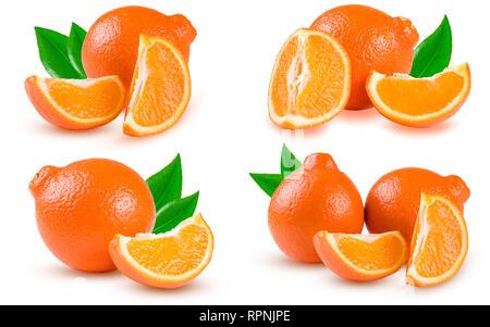 orange tangerine or Mineola with slices isolated on white background. Set or collection - Stock Photo