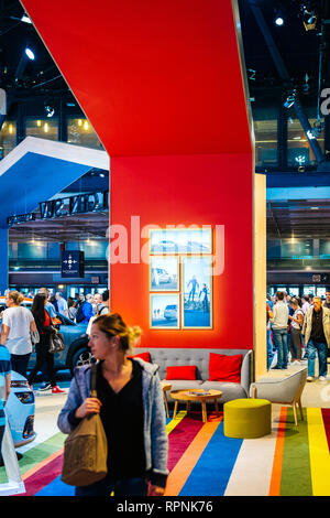 PARIS, FRANCE - OCT 4, 2018: Modern interior designer stand at International car exhibition Mondial Paris Motor Show for the Citroen Car Brand - Stock Photo