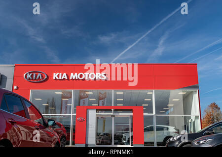 RONCQ,FRANCE-February 20,2019: View of the KIA brand dealership store. - Stock Photo