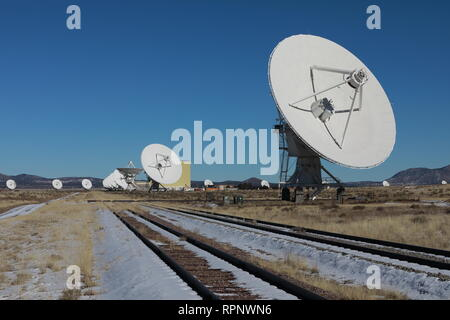 Radiotelescopes at the Very Large Array, the National Radio Observatory in New Mexico ,USA - Stock Photo