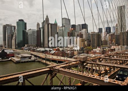 NEW YORK, NY-APRIL 27, 2011: View from Brooklyn bridge in New York City. - Stock Photo