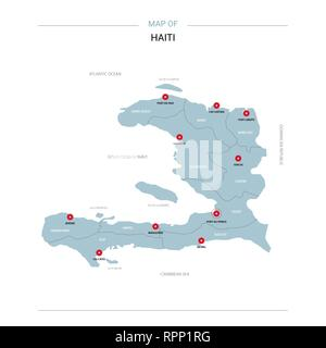 Haiti vector map. Editable template with regions, cities, red pins ...