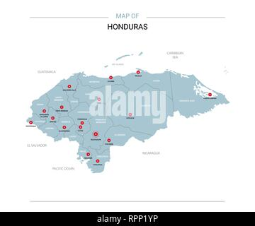 Honduras vector map. Editable template with regions, cities, red pins and blue surface on white background. - Stock Photo