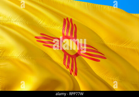 New Mexico flag. 3D Waving USA state flag design. The national US symbol of New Mexico state, 3D rendering. National colors and National flag of New M - Stock Photo