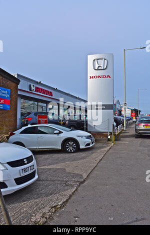 The Bassetts Honda garage, showroom and forecourt in Tremains Road, Bridgend. Local South Wales dealership. - Stock Photo