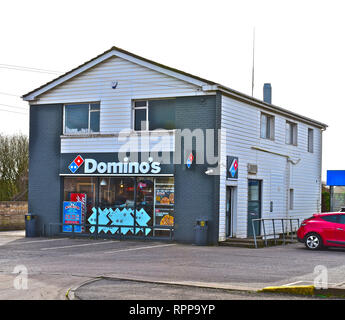 The local store of Domino's Pizza, a  branch of the national / international fast food delivery company.Bridgend,S.Wales UK - Stock Photo