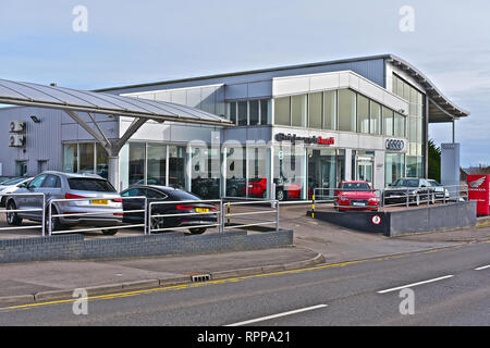 The Sinclair Audi main dealer car sales showroom and maintenance / servicing centre in Tremains Road, Bridgend. New & used vehicles. - Stock Photo