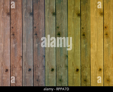 colored wooden boards in the vertical axis in five colors - Stock Photo