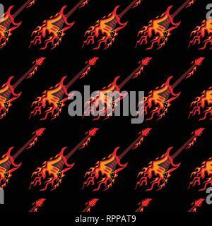 Flying Burning Guitars Seamless Pattern Background Vector Illustration - Stock Photo