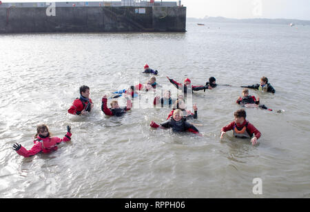Baltimore, West Cork, Ireland, February 22nd 2019.  Over 40 young sailors from all over the country gathered in Baltimore for the Optimist Dinghy Spring Training Week. Supervised by Mandy Kelly the Spring Time Coordinator the children had a fantastic time in and on the water. - Stock Photo